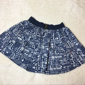 Hollister Printed Navy Blue Circle Skirt Size M